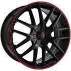 """4-Touren TR60 17x7.5 5x110/5x115 +42mm Black/Red Wheels Rims 17"""" Inch"""