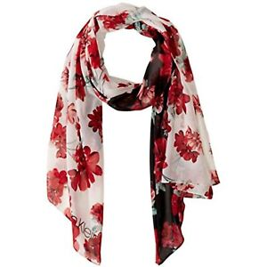 MSRP $44 Calvin Klein Women's Colorblock Floral Poly Chiffon Scarf Red One Size