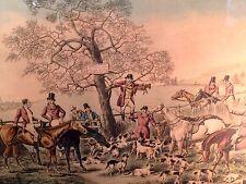 """H.T. Alken """"The Death, Woo...Whoop"""" C1820 Fox Hunt Scene Water Colored Engraving"""