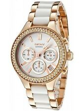 DKNY ROSE GOLD TONE BRACELET WITH WHITE CERAMIC WOMEN'S WATCH NY8183