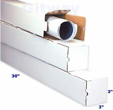 25- 30x3x3 Long White Corrugated Cardboard Packaging Shipping Tubes Box Boxes