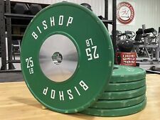 Set of 6, 25 lb Bishop Green Competition Bumper Plates, Olympic