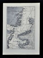 1868 Tour du Monde Map of the Hayes Arctic Expedition Route Ellesmere Greenland