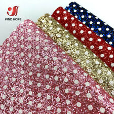 Dots Chunky Glitter Faux Leather Fabric For Hair Bows Bag Brooch Shoes Handmade