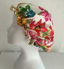 New 100% pure silk floral printed colorful sleep cap bonnet night cap hair care