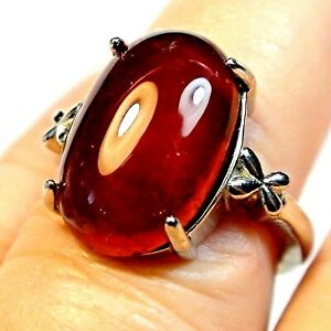 20.0ct NATURAL UNHEATED HESSONITE GARNET RING SILVER GOLD PLATED.ADJUSTABLE