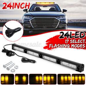 "24"" LED Emergency Warning Amber Traffic Advisor Strobe Flash Light Bar 12V / 24V"