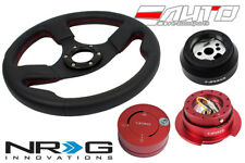 NRG 320 Race Leather Steering Wheel Red St 170H Hub Gen2.5 Red Release Lock RD b