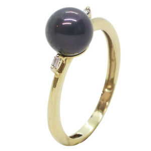 9ct Yellow Gold Fancy Black Pearl And Diamond Shoulders Engagement Dress Ring