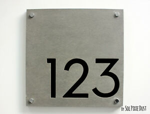 Modern House Numbers, Concrete & Black Acrylic- Sign Plaque - Door Number Square