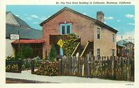 Linen Postcard California H699 First Brick Building House Monterey Curteich