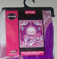 "Harley Davidson Super Royal Plush Throw Small Blanket 50 x 60"" ""Pink Cross"""