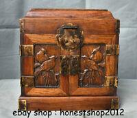 """10 """"China Antik Huanghuali Holz handgemachte Blumen Vögel Schrank Box"""