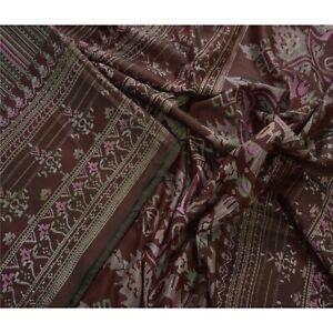 Tcw  Vintage Pure Silk  Sarees Brown Printed Sari Craft Decor Fabric