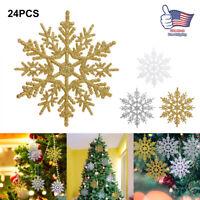 24Pcs/Set Glitter Snowflake Christmas Ornaments Xmas Tree Hanging Decoration NEW