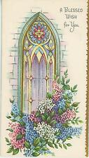 VINTAGE STAINED GLASS CHURCH WINDOW GARDEN FLOWERS LARKSPUR GOD CARD PAPER PRINT