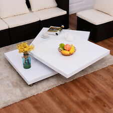 Square Rotating Coffee Table w/3 Layers 360 Degree Swivel Living Room Furniture