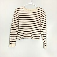Zara Women's Brown & Cream Striped Cropped Top S