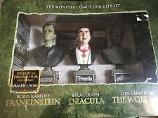 THE MONSTERS LEGACY DVD GIFT SET DRACULA -FRANKENSTEIN- WOLFMAN MINI BUST