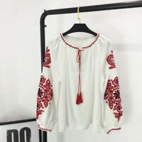 Lady Cotton Linen Blouse Shirt Top Loose Balloon Sleeve Embroidered Ethnic Baggy