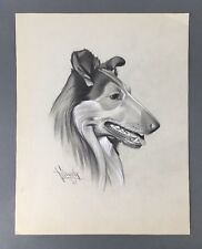 Original 1940's Illustration Art Collie Dog Drawing by Ted E. Schrock