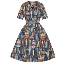 Lindy Bop Books Bookshelf Bletchley 50s Swing Dress Size 8 Turquoise BNWT