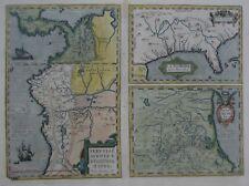 Original 1606 Ortelius 3-Panel Map LA FLORIDA Panama Colombia Peru Amazon Mexico