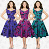 Vintage Ladies 50s Rockabilly Butterfly Print Pin Up Party Swing Dress Plus Size