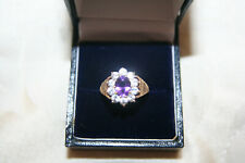 Gold, white Sapphire and amethyst ring size P1/2