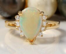 6.80 Carat Natural Opal and Diamonds in 14K Solid Yellow Gold Women Ring