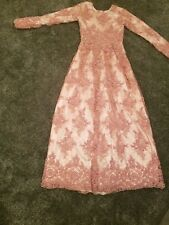 Stunning Pink beaded box pleat evening gown tailored  8/10 fully beaded