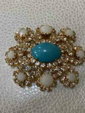 Vintage Prong Set Gold Plated & Rhinestone Pin/ Brooch - Costume Jewelry