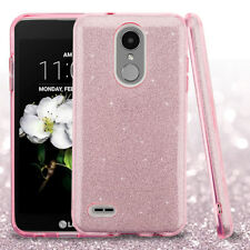 FULL PINK GLITTER HYBRID SKIN PROTECTOR COVER CASE FOR LG Aristo 2 / X210 PHONE