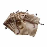 Jute Gift Bags x 10 For Wedding Favours Drawstring Pouches Burlap Hessian