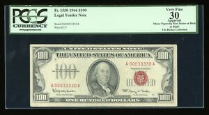DBR 1966 $100 Legal Fr. 1550 PCGS App 30 BINARY Serial A00033330A