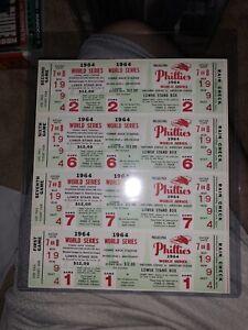 1964 Philadelphia Phillies World Series Phantom Full Ticket Block of (4) NRMT