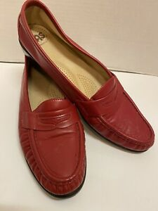 SAS Tripad Comfort Red Wink Leather Slip On Penny Loafers Shoes Womens US 10 S