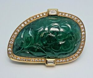 Emerald Carved 18k Yellow GOLD DIAMOND Brooch - BR654