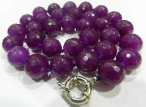 Natural 10mm Faceted Purple Alexandrite Round Gemstone Beads Necklaces 18''