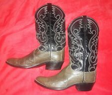 DAN POST VTG WMS7 1/2 BOYS 6 EXOTIC GREEN LIZARD BOOTS BLACK LEATHER UPPERS .