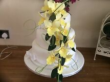 HAND MADE SUGAR ORCHIDS TRAILING TWO SPRAYS IN YELLOW,ALSO IN OTHER COLOURS