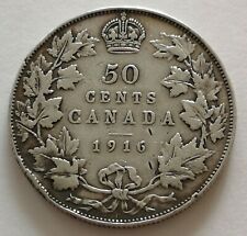 *** CANADA 50 CENTS 1916 #2  *** KING  GEORGES V  *** VG+  MY OPINION ***