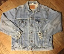 Vintage Levis Trucker Blue Denim Jacket Red Tab 70507-0389 Size L Worked In Cond