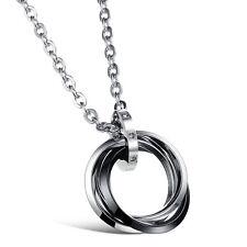 Halskette Edelstahl 3 Ringe Kreis Anhänger mit 50cm Kette Damen Herren Schmuck