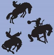 "Cowboy Western Rodeo Horse Vinyl Sticker Decals (Quantity 3) 6""h x 6""w each"