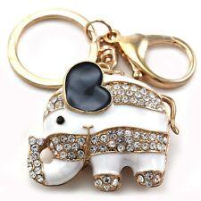 Baby Elephant Animal Keychain Car Key Ring Charm Gold Tone Black White Enamel z1