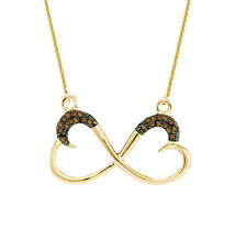"""Chocolate Brown Diamond Infinity Heart Necklace 10K Yellow Gold 18"""" Length .10ct"""