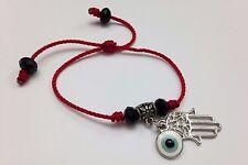 Pulsera roja para protecion mano de fatima y ojo turco  y crystal negro