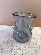 "Art Glass Pot, Handmade, 5"" x 4""  White & Clear Glass, 3 Handles- Gorgeous!!"