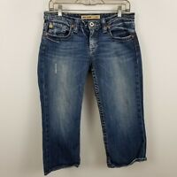 Big Star Casey Low Rise Capri Distress Women's Blue Jeans Size 29